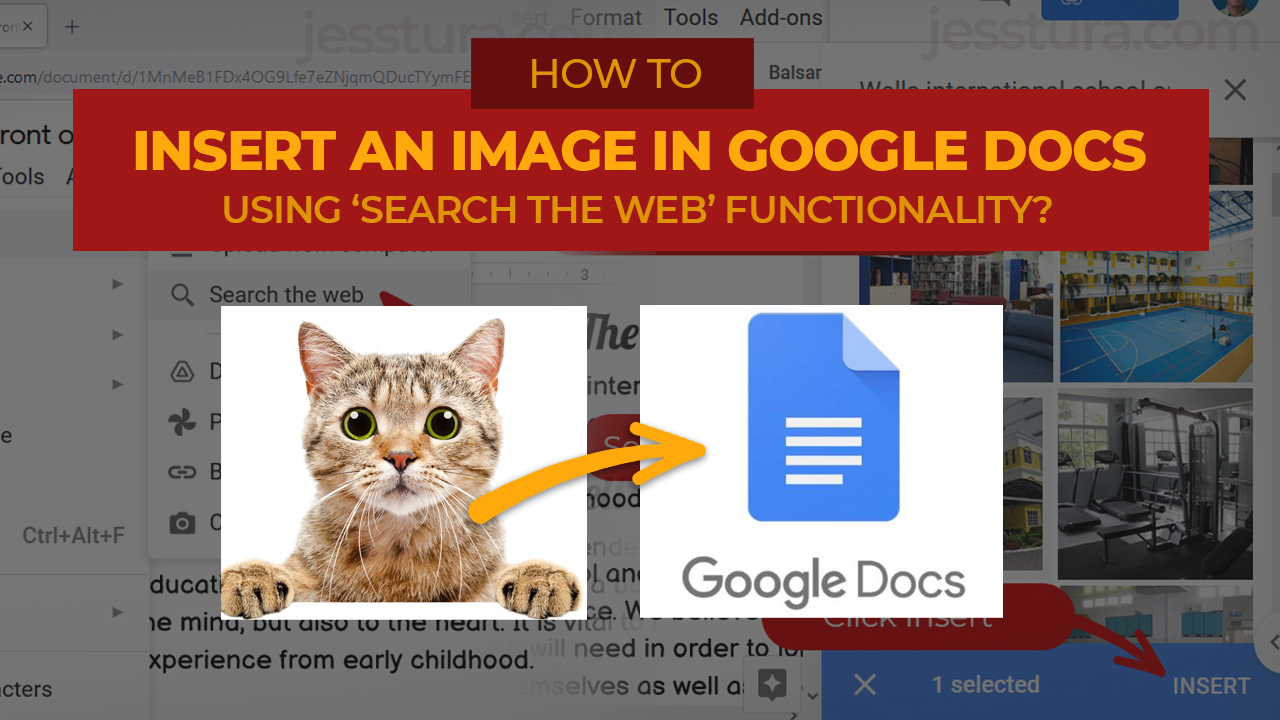 Jess Tura insert an image in Google Docs search the web